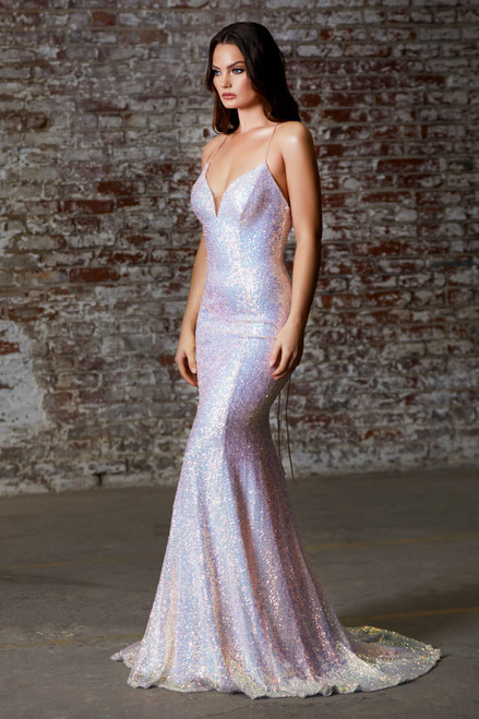 Fitted gown to hug your curves and iridescent sequin gown with open lace up back and deep V sweetheart neckline in style CD J787, shop prom avenue  Available in Off White, Opal Blush