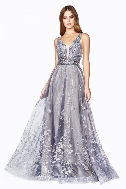 A-line Layered Long Dress in Style CD CD75,One of a king long A-line tulle dress with lace appliqué in style CD CD75 with embellished beaded waistline nd V neckline - shop prom-avenue  Available in Midnight as Shown