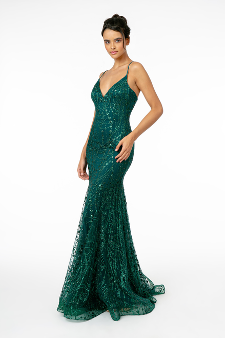 GLS GL2965,Sexy mermaid silhouette prom gown in style GLS GL2965 that features a figure hugging bodice in glittered mesh and V neckline. This dress has spaghetti straps and zip up back- shop prom avenue   Available in Burgundy, Blue Silver, Green, Mauve