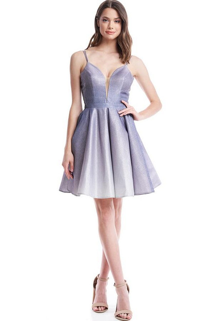 A dark lilac color short cocktail dress with spaghetti straps and V neckline, it features an open back and lace up closure in style  AG CB14823S - shop prom avenue  Available in Dark Lilac