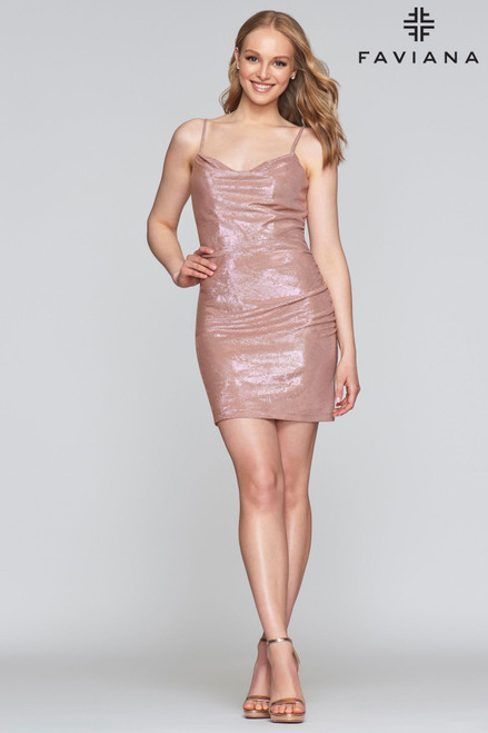 Flattering in fitted jersey short cocktail dress by Faviana s10351 featuring a flattering cowl neckline that is perfect for a night of fun - shop prom avenue   Available in Black, Platinum Gray, Rose Gold