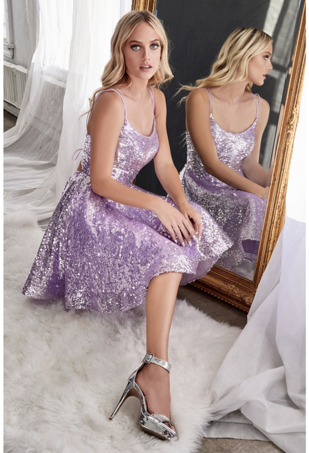 Stunning pale lavender short sequins homecoming dress with daringly sexy open lace up back in style CD AM398 - shop prom avenue   Available in Blue, Champagne, Blush, Lavender