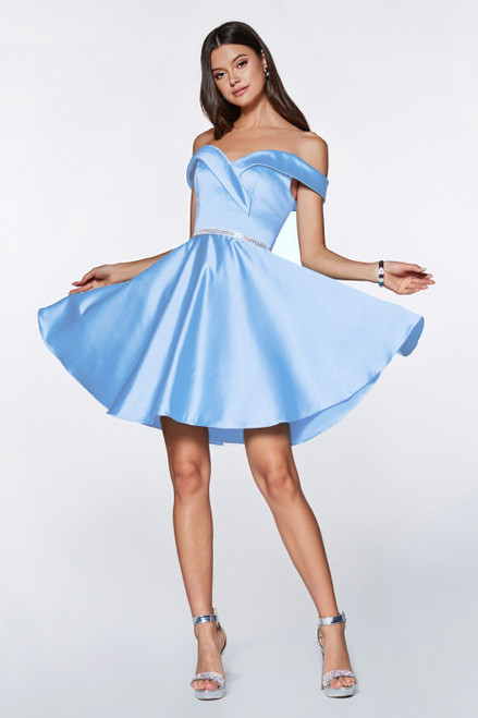 A satin formal short party dress with off the shoulder style and delicately embellished waistline in style CD CD0140 - shop prom avenue  Available in Blue, Blush, Burgundy, Champagne, French Lilac, Off White, Red, Royal   CD CD0140