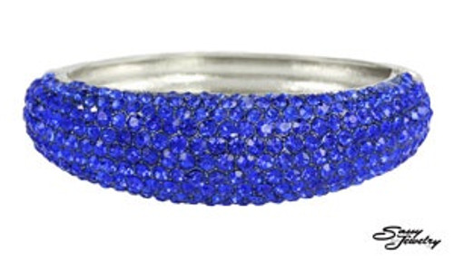 Blue Paved Rhinestone Bangle