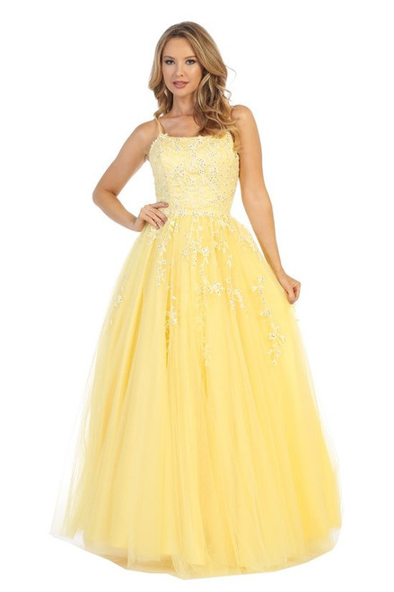 Let's 7653L,Pretty and elegant A-line silhouette long prom gown with floral lace appliqué and lace up back, fun feminine cut - shop prom-avenue  Available in Burgundy Red, Yellow