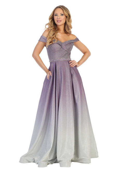 Let's 7567L,Stunning timeless long prom dress in style Let's 7567L in ombre featuring off the shoulder ball gown with pockets- shop prom avenue   Available in Mauve Ombre, Navy Ombre, Lavender Ombre