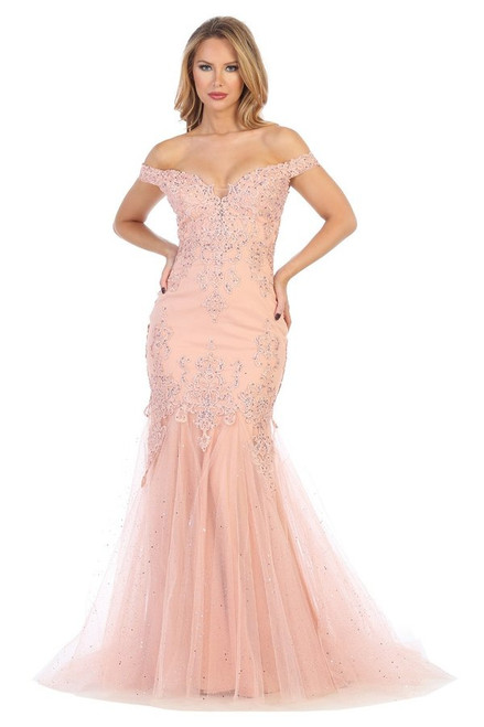 Prom look is served with this off the shoulder prom dress with embellished embroidered lace and fit and flare mermaid silhouette in style Let's 7612L- shop prom avenue   Available in Rose and Silver