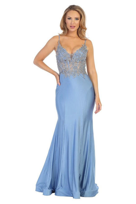 Let's 7646L,Serve some sexy and dramatic sleeveless long form hugging mermaid silhouette prom dress with emblelished embroidered bodice and open back - shop prom avenue   Available in Slate Blue, Red Gold
