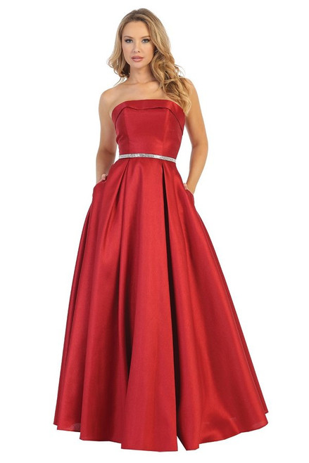 Let's 7551L, Classic and elegant long ball gown style dress with straight strapless neckline This dress features pockets and embellished waistline, shop prom avenue  Available in Blue, Red, Green