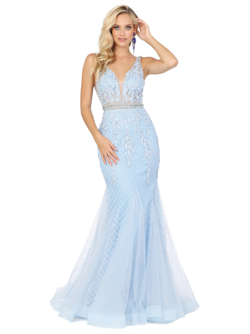 Modern sky blue color long mermaid prom dress in sleeveless design, alluring and elegant on V neckline and embellished waistline, style DQ 2742 - shop prom avenue  Available in Sky Blue