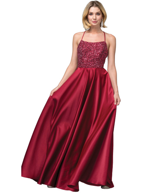 Fashionable long dress with fully beaded bodice and straight neckline in style DQ 2828, this dress has pockets and cute criss cross back - shop prom avenue  Available in Burgundy