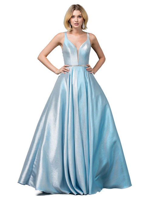 Graceful and feminine long ball gown in aqua blue with delicately embellished design on the back,  V neckline and zip up back. Alluring and ready for attention in style DQ 2853- shop prom avenue   Available in Aqua Blue