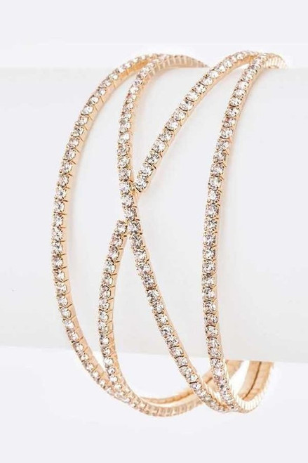 Iconic and intricate creation in rose gold, rhinestone embellished bangle. Lead and Nickel Compliant - shop prom avenue   Available in Rose Gold as Shown