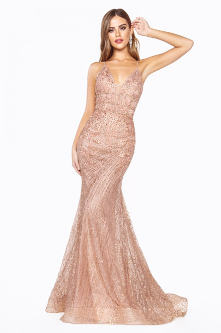 Statement making rose gold sequin long mermaid silhouette special occasion dress in style CD J8754 with V neckline- shop prom avenue  Available in Rose Gold