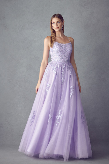 Romantic and whimsical long ball prom gown with stunning lace appliqué, spaghetti straps and lace up back in style JD 260, shop prom avenue  Available in Lavender Lilac, Red, Off White