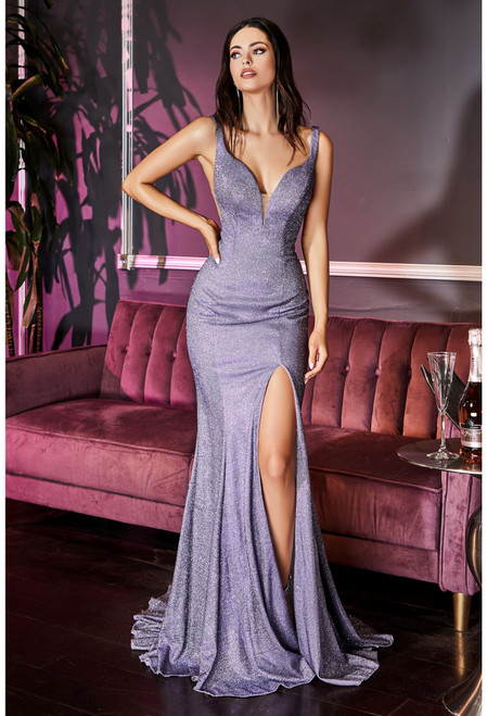 CD KC876,Fitted slim fit glitter long special occasion dress that is ready to impress in style CD KC876, featuring a V- plunging neckline, open back and side slit - shop prom avenue  Available in Opal- Lilac, Metallic Use, Gold
