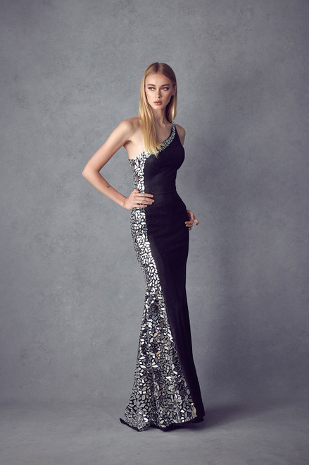 JD 253,Long one shoulder formal long dress with side embellishment and a curve huffing fitted silhouette in style JD 253- shop prom avenue  Available in Black/Silver, Black/ Gold
