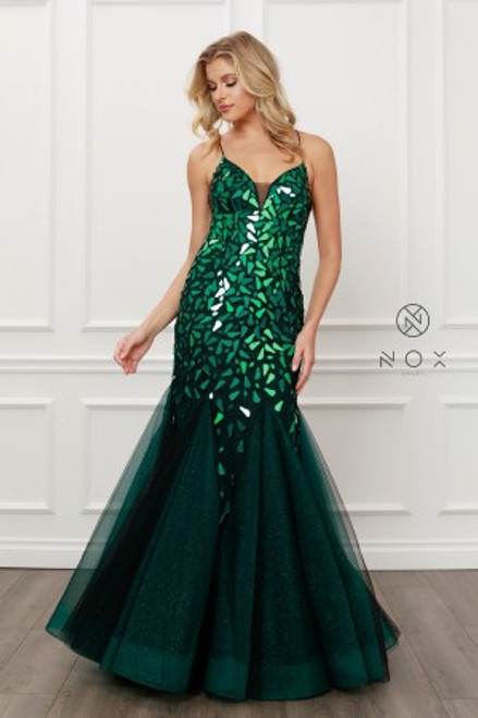NX T438,Elegant and classic party prom dress in style NX T438 in mermaid silhouette and V neckline, Chic in V neckline and lace up back - shop prom avenue   Available in Green, Red, White