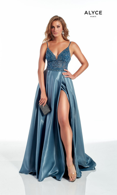 Alyce 60875,Long formal dress in style Alyce 60875 that features a plunging V neckline, lace up back and side slit, flattering and trendy- shop prom avenue  Available in French Blue, Light Mauve, Midnight