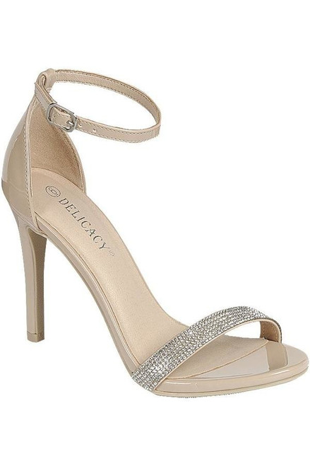 Tall, polished and classy nude round toe sandals that is cute with evening gown or party dress with adjustable ankle straps and embellished cross strap- shop prom-avenue   Available in Nude   Sizes 6.0 - 10.0
