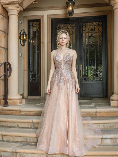 Long A line prom dress with V neckline and embellished delicate glittering bodice on sleeveless, spaghetti straps and lace up back in style DQ 4226- shop prom avenue  Available in Rose Gold