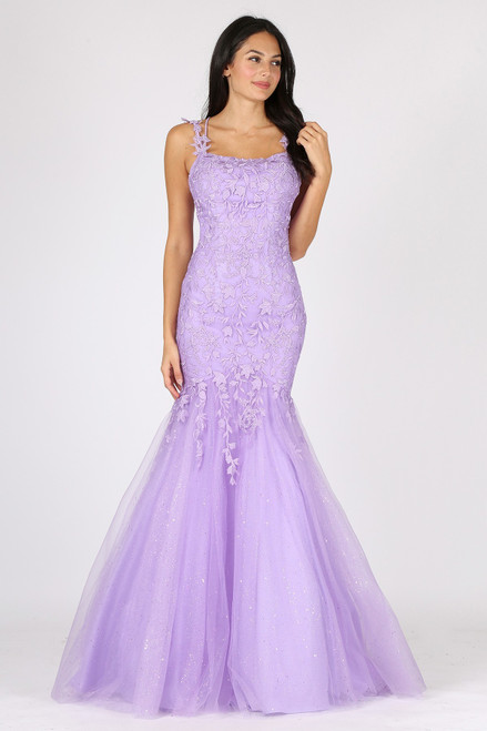Glittery fitted mermaid silhouette long prom dress with corset lace up back and lace embroidered bodice in style EU 9957 - shop prom-avenue  Available in Lavender and Bahama Blue