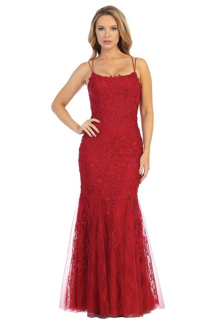 Show off and show up at your prom dance or special formal occasion with this backless lace up mermaid silhouette gown with detailed appliqué and scoop neckline-shop prom-avenue  Available in Burgundy, Rose, Slate Blue
