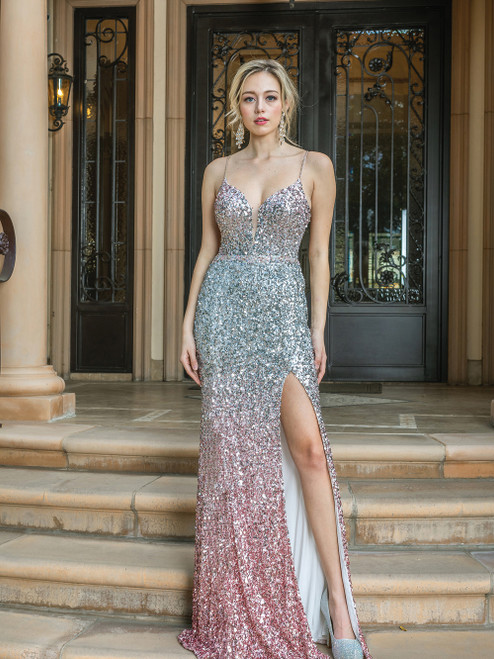 Beautiful long sleeveless prom dress with fitted bodice and side slit, it features a V neckline and sexy embellished back in style DQ 4230- shop prom avenue  Available in Ombre Pink/Silver