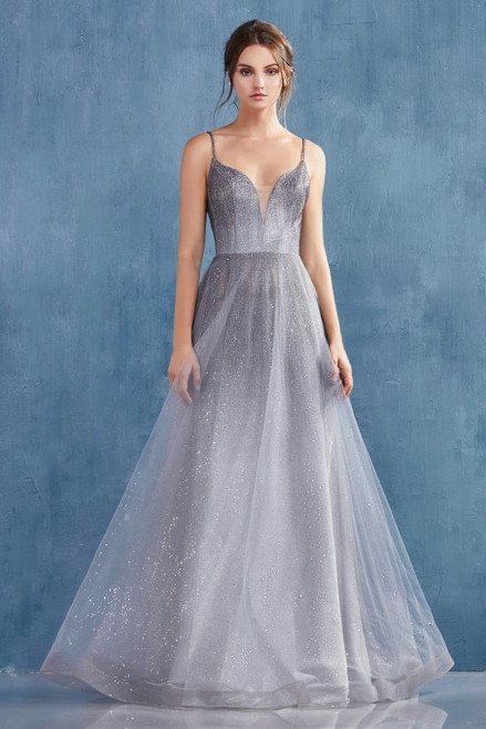 AL AO936, Elegant and stylish long special occasion dress in style AL AO936 featuring cute butterfly embellished spaghetti straps on V neckline and glittery metallic ombre tulle overlay i - shop prom-avenue  Available in Graphite Gray