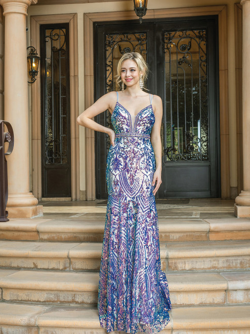 Multi- color lilac tone long prom dress that deliver a sexy and sophisticated style in style DQ 4215 featuring open criss cross back and fit and flare silhouette - shop prom-avenue  Available in Multi Color- Lilac
