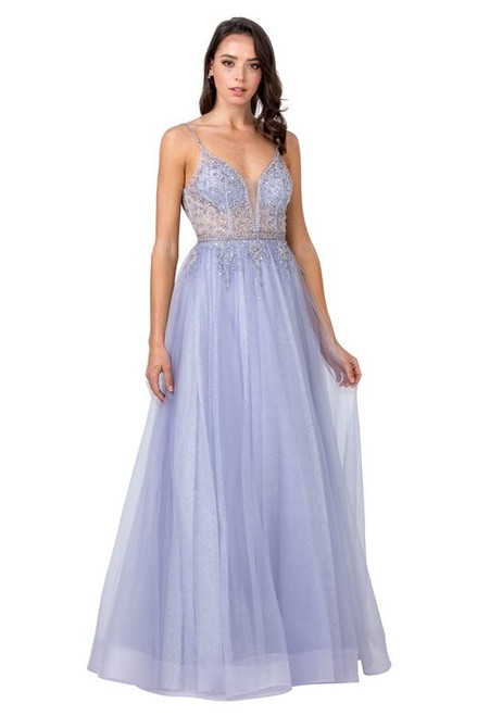 ASP L2431, Beautiful and elegant flowy long A-line dress in style ASP L2431 with V neckline and embellished hand beaded bodice.- shop prom-avenue  Available in Pewter as shown