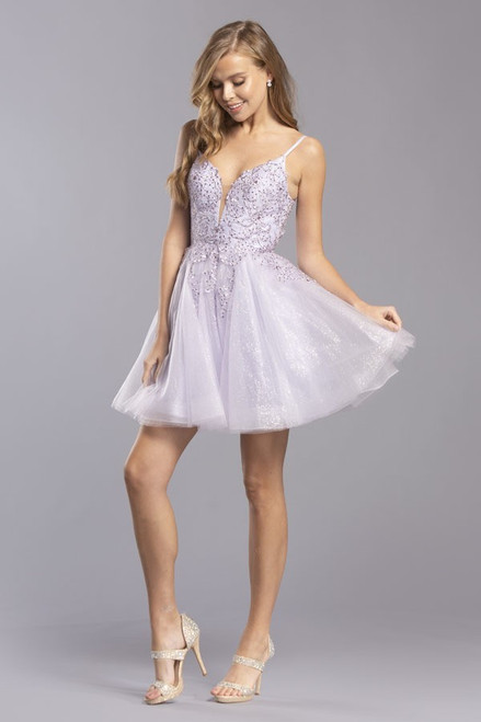 ASP S2257,Short homecoming dress that will flatter any silhouette with V neckline and spaghetti straps, the dress has sparkling embellishments on the bodice with zip up back in style ASP S2257- shop prom-avenue   Available in Lilac