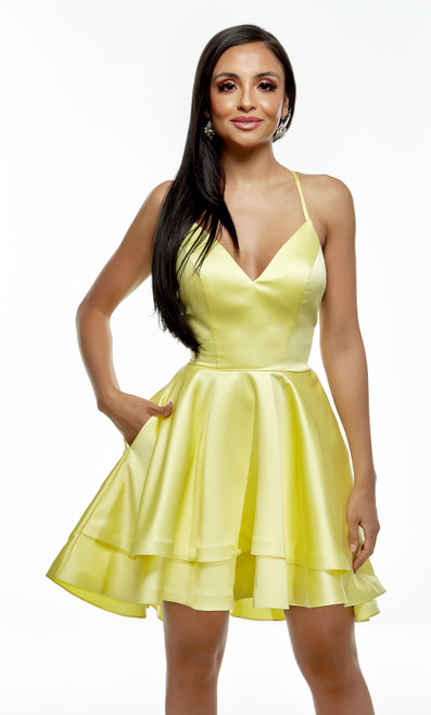 AP 1671, Short and sweet homecoming dress in style AP 1671 in smooth luminous satin material with V neckline and spaghetti straps that go criss cross on the back, this dress has pockets - shop prom avenue  Available in Yellow and Ice Blue