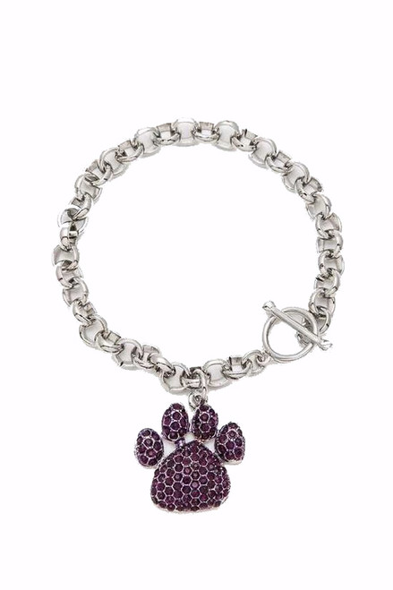 Complete  you look with this hypoallergenic paw charm bracelet, rhinestone embellished reminding you or your love to your pet - shop prom avenue