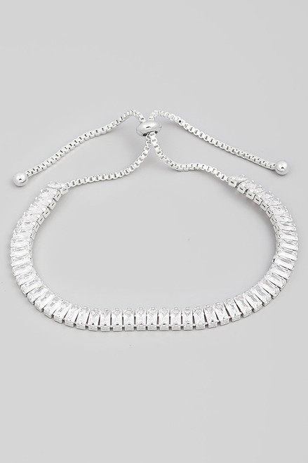Silver baguette rhinestone adjustable tennis bracelet, lead and nickel compliant, stylish and sparkly in cubic zirconia - shop prom avenue