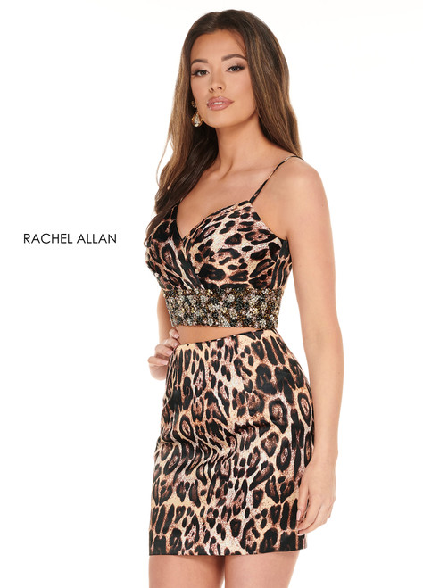 RA 40013, Meow babes! The best animal print in the industry has arrived. This two piece will turn heads as chic and sophisticated as it is. This mini has a plain printed skirt combined with an embellished beaded crop top.- shop prom avenue  Available in Animal Print