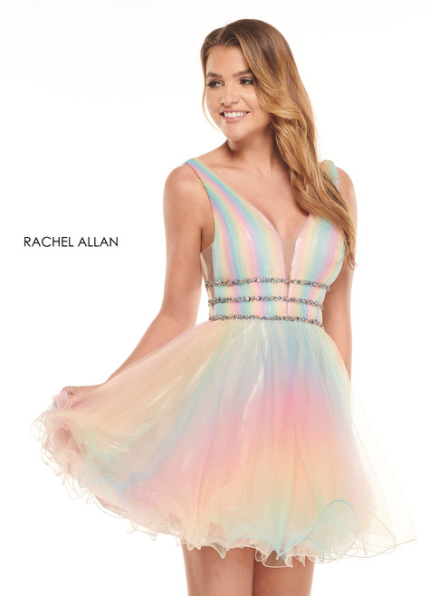 Cotton candy dreams come true with Rachel Allan 40038 with adorable tie dye tulle and V neckline. The waist band is adorned with beaded embellishment. - shop prom avenue  Available in Rainbow, Royal