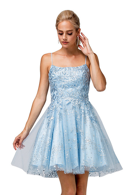 Perfect for homecoming dance dress of special occasion, this short sky blue dress features an A-line skirt with scoop neckline and lace appliiqe to the bodice in style DQ 3158- shop prom avenue   Available in Sky Blue as shown