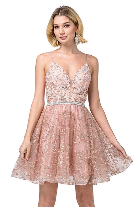 Exquisite short homecoming dress in style DQ 3152 with V neckline and glittered A-line skirt in tulle material, perfect choice for a fabulous night or special event- shop prom avenue  Available in Rose Gold