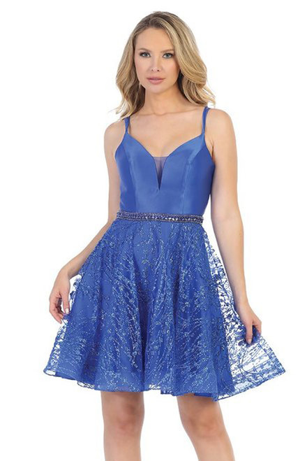LD 6218L, Short royal blue color homecoming special occasion dress with V neckline and open lace up back with spaghetti straps and embellished glittery skirt - shop prom avenue  Available in Royal Blue