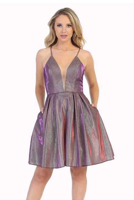 Metallic on trend in style LD 6224L short party cocktail dress with open back and spaghetti straps, this dress has pockets- shop prom avenue  Available in Wine Metallic