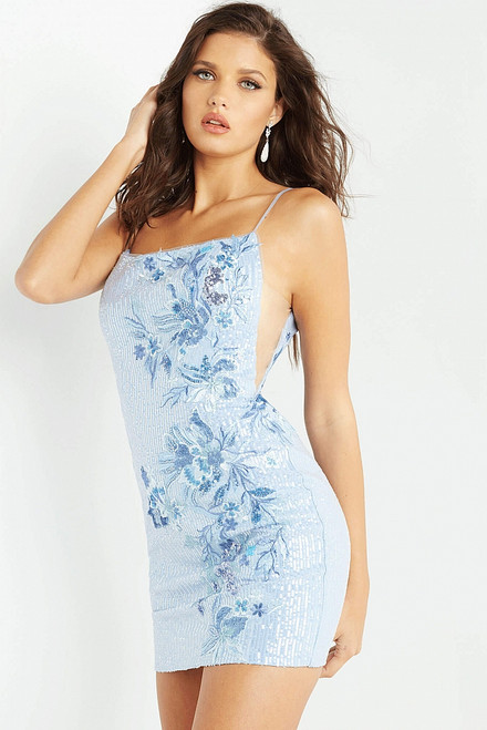 Chic in scoop neckline fitted cocktail or homecoming dress in style JVN08004 in glamorous and trendy periwinkle color at prom-avenue   Available in Periwinkle