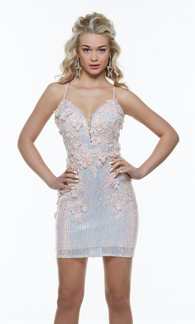 Short homecoming or prom dress with plunging neckline and open back , adorned with delicate 3D cut flowers, This dress has adjustable straps for comfort in style AP 4374- shop prom avenue  Available in Pink ChampagneAP 4374, alyce 4374,