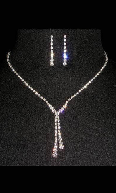Double drop adjustable necklace and earring set in dazzling plated silver sterling, adorned with rhinestones - shop prom-avenue