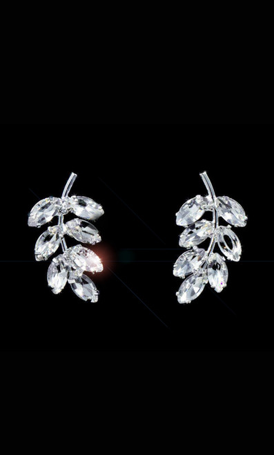 Stylish pair of stud silver plated tone earrings with iconic laurel leaves design, adorned with sparkling clear crystal rhinestones that is perfect accessory for any outfit - shop prom avenue