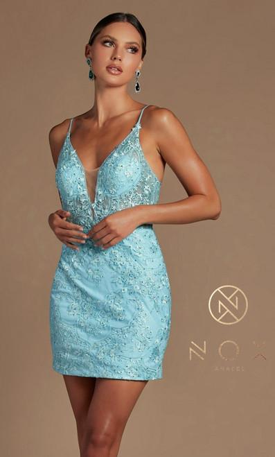 Ice Blue Short Cocktail Dress