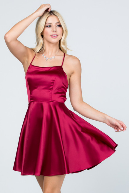 Burgundy color satin like fit and flare dress with pretty lace up criss cross back for homecoming and cocktail dress in style LS 25713-M, shop prom avenue  Available in Burgundy