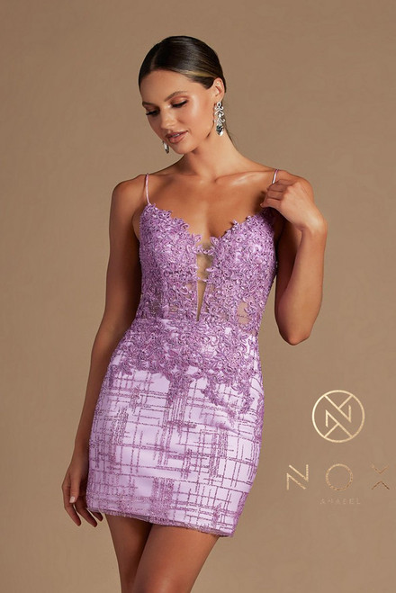 Beautiful short corset lace up bodice cocktail dress with illusion V neckline in shimmering glittery skirt in style NX R700, available in Lilac,NX R700