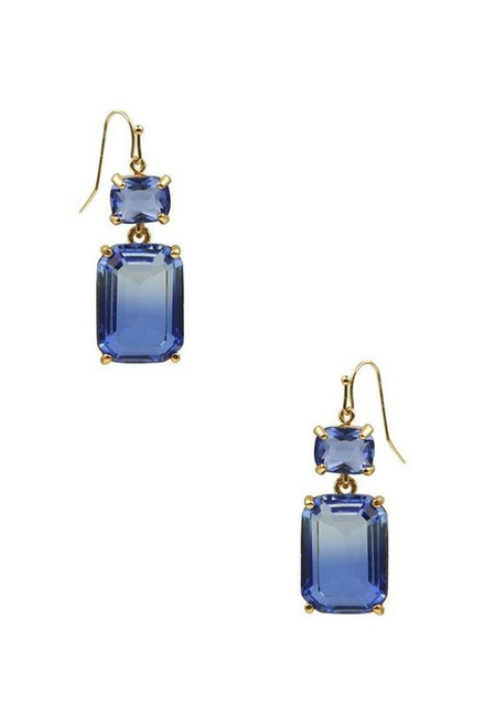 Blue two tone rectangle crystal eye catching dangle earrings shimmering in gold plated metal housing that is ready for a spotlight - shop prom avenue   Nickel and Lead Compliant