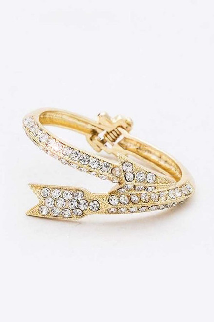 Add some golden flare to your outfit with this crystal gold plated bangle with little sparkly rhinestones set onto the ends of the arrow - shop prom avenue  Lead and Nickel Compliant